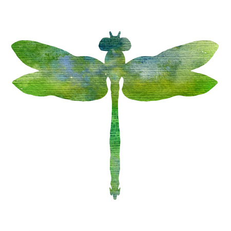 color watercolor silhouette of green dragonfly, isolated insects, hand drawn design elements