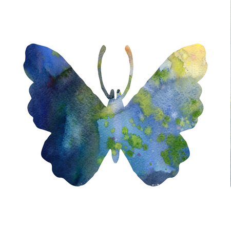 color watercolor silhouette of blue butterfly, isolated insects, hand drawn design elements Stock Photo