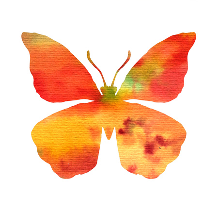 color watercolor silhouette of red butterfly, isolated insects, hand drawn design elements