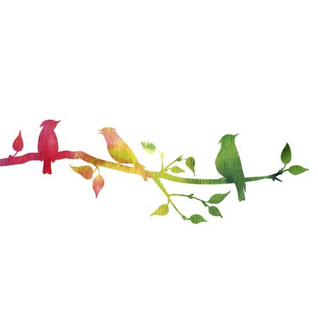 Schattenbilder von Vögeln am Baum, Hand gezeichnetes waxwings an der Niederlassung des wilden Apfelbaums, Farbnaturhintergrund