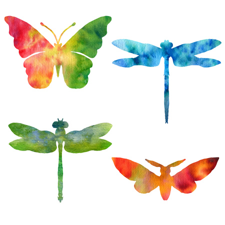 set of color watercolor silhouettes of butterflies and dragonflies, isolated insects, hand drawn design elements