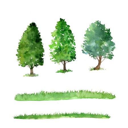 set of trees drawing by watercolor, bushes and grass, green green foliage, isolated natural elements, hand drawn illustration Stockfoto