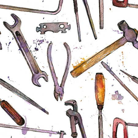craft ornament: seamless pattern with hand drawn tool kit at white background, shacksaw, adjustable wrench, hammer, pliers and chisel, vintage ink drawing illustration, craft ornament