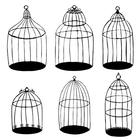 prison house: vector set of hand drawn birds cages
