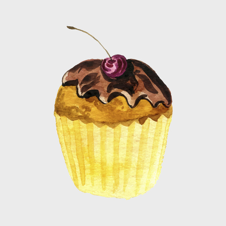chocolate and glazed cupcake with cherry drawing in watercolor, hand drawn illustration