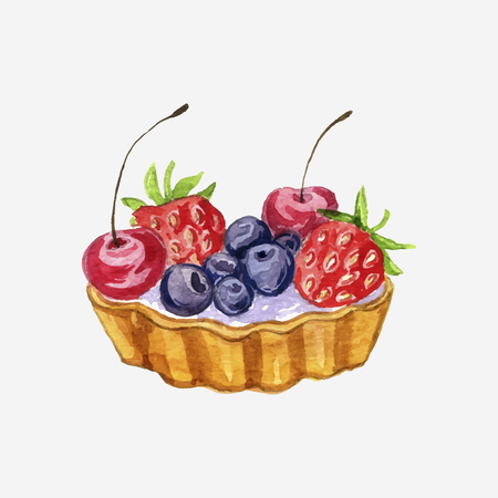 vector watercolor cake with fresh berries isolated at white background, hand drawn illustration