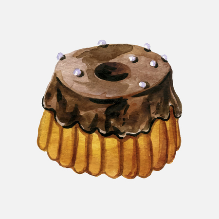 vector choclate glazed cake drawing in watercolor, hand drawn illustration