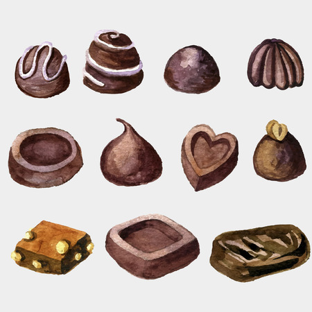 vector watercolor chocolate candies 向量圖像