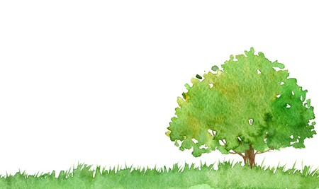 watercolor landscape with tree and grass, green foliage,abstract nature background, forest template, hand drawn illustration