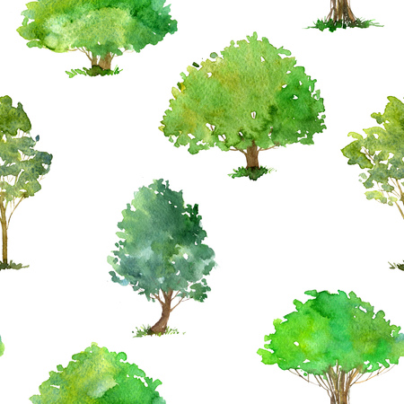 seamless pattern with watercolor drawing trees and grass, green foliage,abstract nature background, forest template, hand drawn illustration