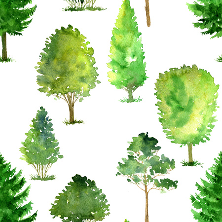 cypress: seamless pattern with watercolor deciduous trees, pines and firs, bushes and grass, abstract nature background, forest template, green foliage and plants, hand drawn illustration