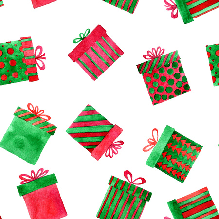 seamless pattern with watercolor gift boxes, new year and Christmas background