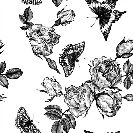 vintage vector floral seamless pattern in victorian style with flowers, buds, leaves and butterfly, ink drawing, imitation of engraving, hand drawn background 일러스트