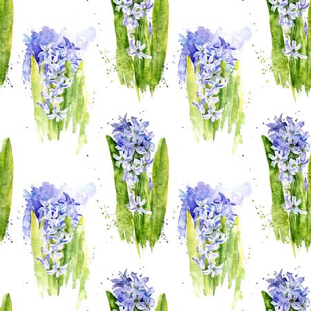 Pattern avec des fleurs aquarelle jacinthe bleu avec des tiges et des feuilles, art peinture fond, ornement floral Banque d'images - 69352358