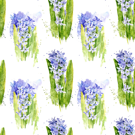 seamless pattern with watercolor blue hyacinth flowers with stalks and leaves, art painting background, floral ornament Imagens