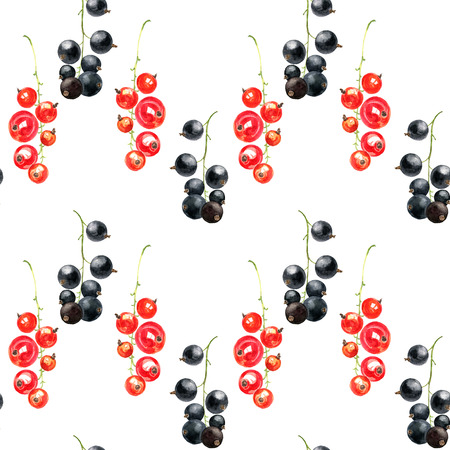 raceme: seamless pattern with watercolor drawing berries, artistic painting background with black and red currant, hand drawn illustration Stock Photo