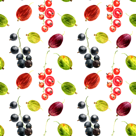 seamless pattern with watercolor drawing berries, artistic painting background with green,red and brown gooseberry and black and red currant, hand drawn illustration