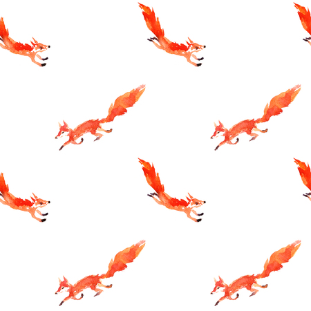 seamless pattern with watercolor red foxes, hand drawn artistic painting illustration, animals background Stock Photo