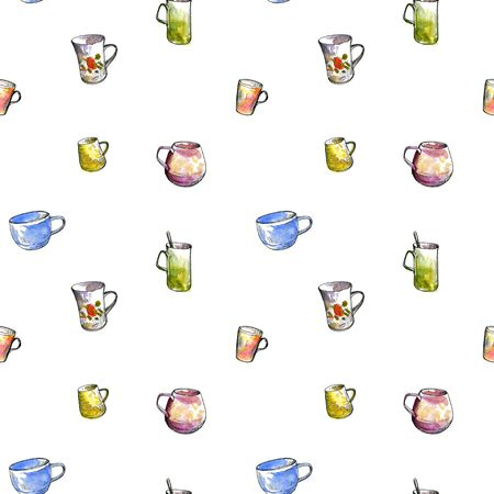 faience: seamless pattern with teacups drawing by ink and watercolor, hand drawn artistic painting illustration Stock Photo
