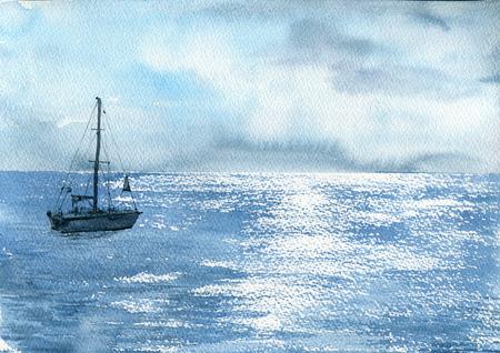 수채화 바다 보트 스톡 콘텐츠