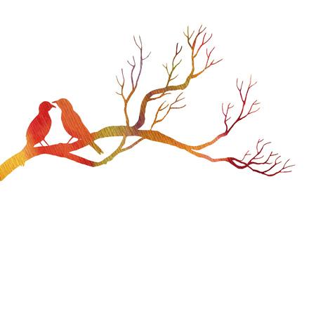 tree: birds at tree silhouettes