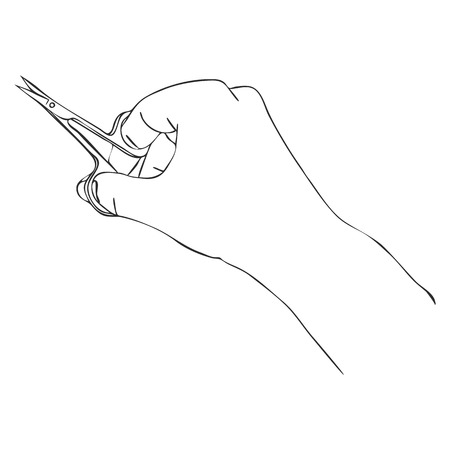 vector hand with scissors