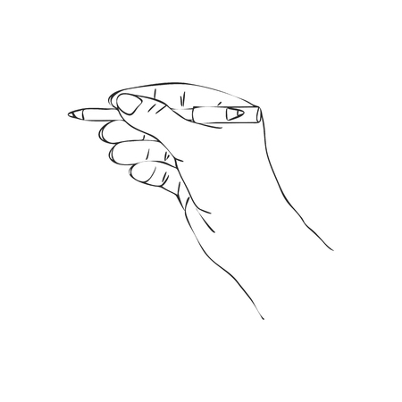 pomatum: vector hand with cosmetic pencil