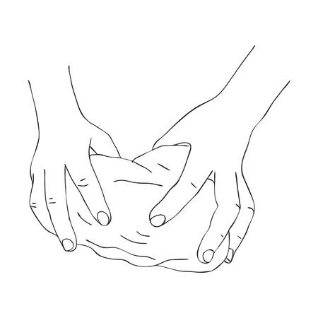 Hände kneten Teig