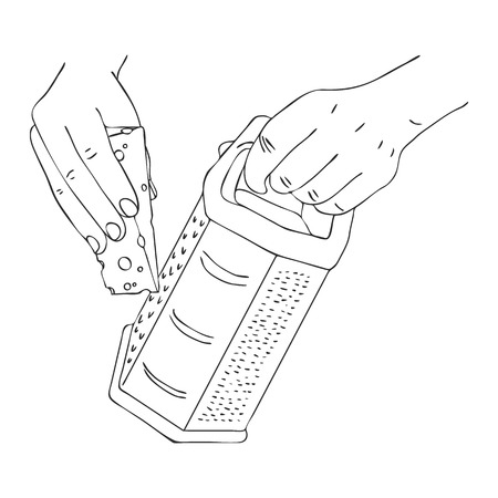 cooking hand with cheese and grater