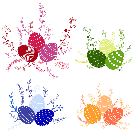 vector easter compositions with colored eggs and floral elements, template for gift card, hand drawn design elements