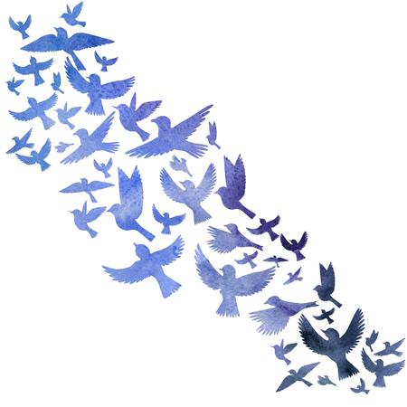 Waterverf vliegende vogels silhouetten