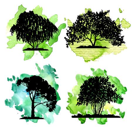 conjunto de vectores de árboles de hoja caduca