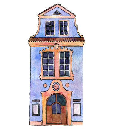 watercolor drawing house