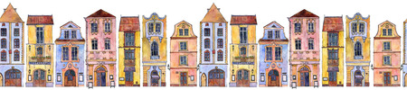 seamless pattern with watercolor drawing houses Stock Photo