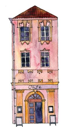 front of house: watercolor drawing house