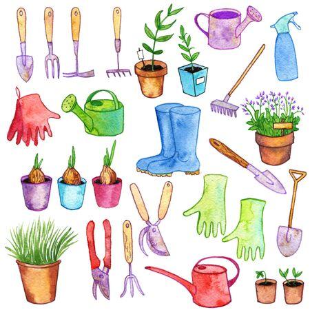 pruner: watercolor garden doodle set