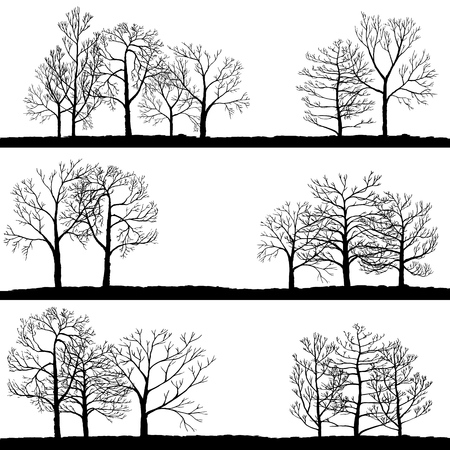Vector landscapes with winter trees Stock Illustratie