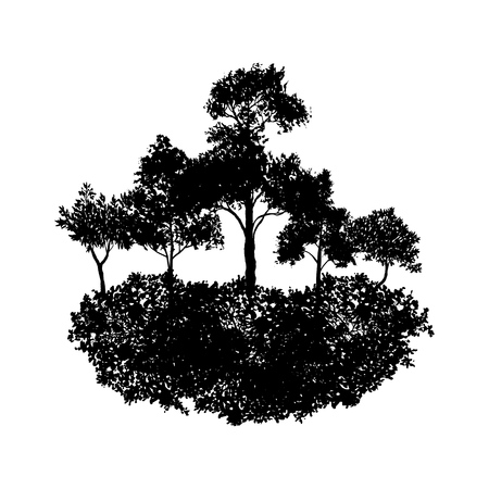 Vector landscape with trees Illustration