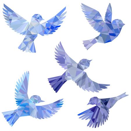 vector set of flying birds silhouettes Illustration