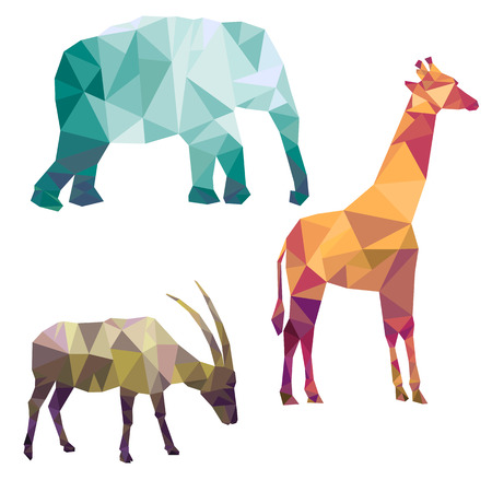 polygonal silhouettes of african animals