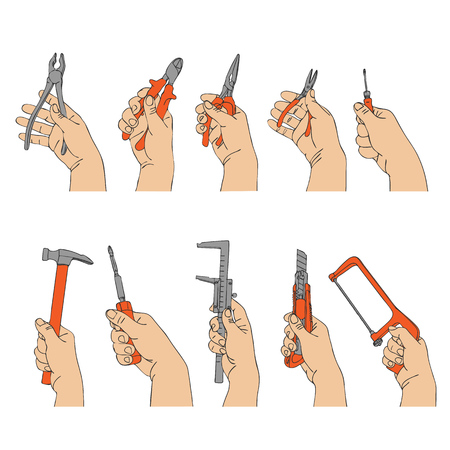 vector set of hands with different instruments, hand drawn line illustration