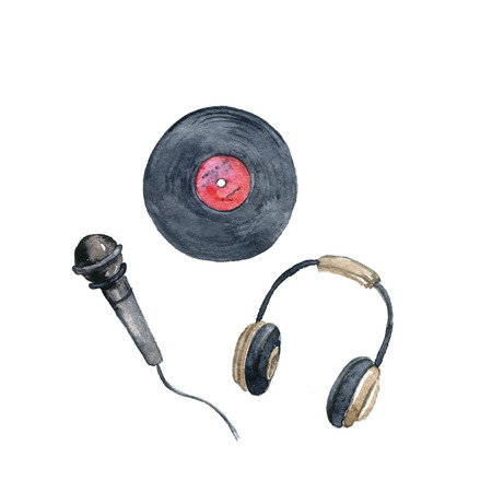 watercolor drawing vinyl record, microphone and headphones