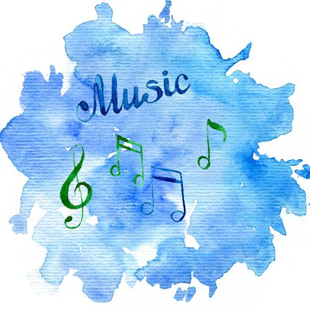 watercolor background with musical notes Stock Photo