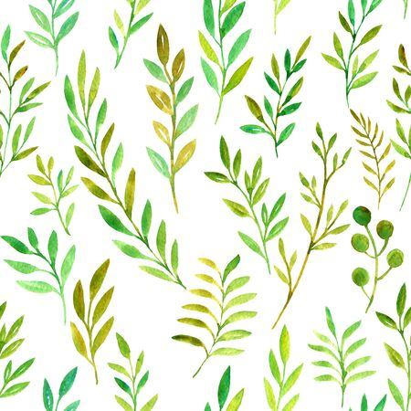 seamess pattern with watercolor doodle twigs with leaves