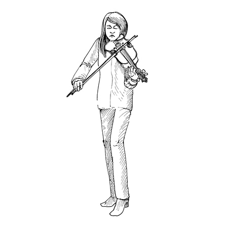 若い女の子がバイオリンを弾いてヴァイオリニスト 写真素材 - 81383021