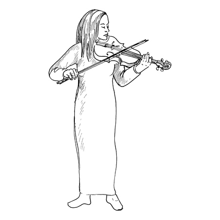 Young girl playing the violin, Violinist
