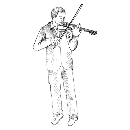 Sketch of young man playing the violin, Violinist, hand drawn vector illustration