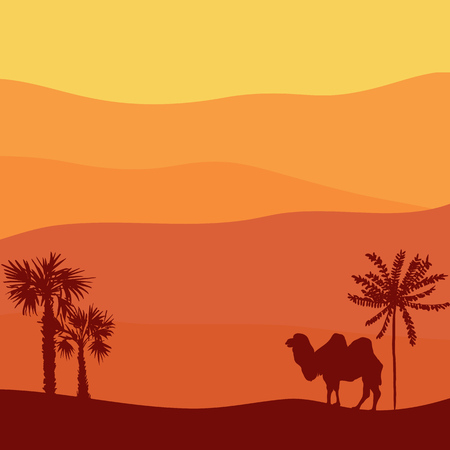 vector desert landscape with camel, hot african exotic background for banner or cover design, hand drawn illustration