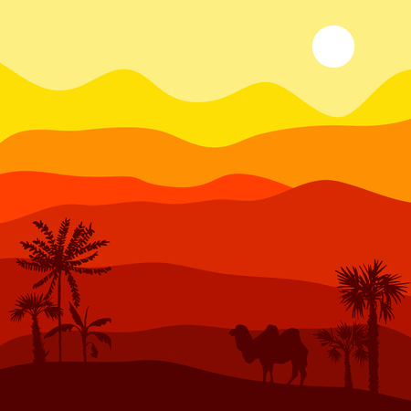 vector desert landscape with camel, hot african exotic background for banner or cover design, hand drawn illustration