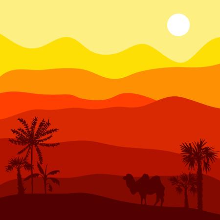 Vektor Wüste Landschaft mit Kamel, heißen afrikanischen exotischen Hintergrund für Banner oder Cover-Design, Hand gezeichnet Illustration Standard-Bild - 81457073